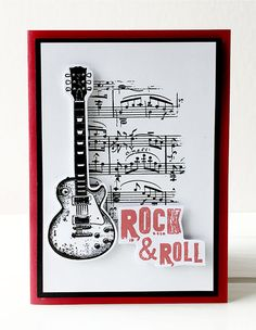 Rock & Roll Card by Rachel Greig using Darkroom Door Sheet Music Texture Stamp and Rockstar Rubber Stamp Set. http://www.darkroomdoor.com/texture-stamps/texture-stamp-sheet-music