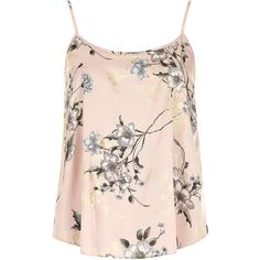 Dorothy Perkins Pink floral cami top (135 NOK) ❤ liked on Polyvore featuring tops, shirts, tank tops, tanks, blusas, pink, pink shirt, cami tank, pink floral shirt and camisole tank top