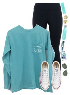 """""""Would wear this to school//Anna"""" by prim-and-preppy ❤ liked on Polyvore featuring NIKE, Converse, My Name Necklace, S'well, Vera Bradley and Ray-Ban"""