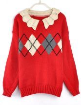 Vintage Wave Lapel Diamond Pattern Sweater Red $33  #SheInside #hipster #love #cute #fashion #style #vintage #repin #follow