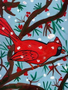 Cardinals in winter tree