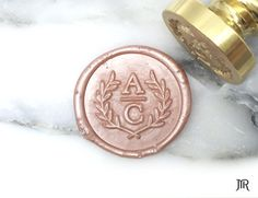 Mr Wax Seal Stamp Personalized Wedding Monogram by Mister Robinson - Custom Initials Olive Branch Wreath