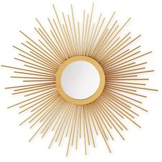 Home Design Studio Small Sunburst Mirror ($45) ❤ liked on Polyvore featuring home, home decor, mirrors, gold, sun shaped mirror, home wall decor, gold mirror, gold home decor and sunburst wall mirror