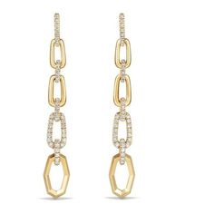David Yurman Stax Convertible Chain Link Earrings With Diamonds In 18K... ($5,200) ❤ liked on Polyvore featuring jewelry, earrings, gold, long gold earrings, diamond jewelry, yellow gold earrings, yellow earrings and 18k gold earrings