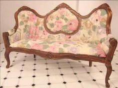 Dollhouse Furniture Victorian Sofa Pink Print Victorian Sofa | eBay