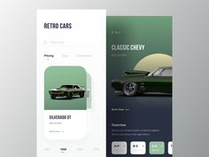 Retro Car Shop App designed by Zuairia Zaman for Orizon. Connect with them on Dribbble; the global community for designers and creative professionals. App Ui Design, Mobile App Design, Interface Design, Web Design, Moves App, Design Your Own Website, Chevy Classic, Mobile App Ui, Website Design Inspiration