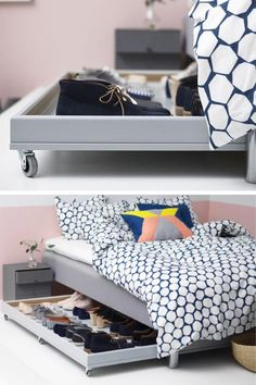 Un rangement pour chaussures à fabriquer soi-même avec des accessoires et des meubles IKEA. Pratique, ce range-chaussures sur roulettes se glisse sous le lit ! Diy Crafts Hacks, Ikea Hack, Home Decor Items, Floating Nightstand, Home Furniture, Master Bedroom, Bookcase, Interior Design, Storage