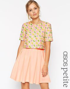 ASOS PETITE Candy Embellished T-Shirt Crop Top Scuba Skater Dress