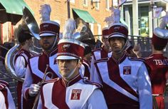 Walking tall; Diamond Marching Band; Temple University; Philadelphia, Pennsylvania, USA.  October 2013.