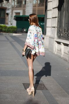 Floral jacket & nude sparkly sandals