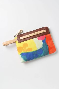 "Claire Desjardins clutch purse at Anthropologie: ""In The Abstract Clutch"". Yes, that's a Claire Desjardins painting (and signature label)! @Anthropologie"