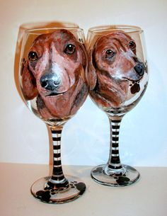 Custom Pet Portrait Doxies Hand Painted by SharonsCustomArtwork