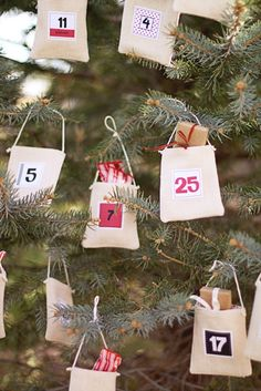 advent canvas bags- can hang on trees or on clothes line