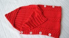 Rode gebreide baby slaapzak - met capuchon -