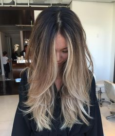 """Long layers on @kerlula color by @andyjamespaints #longhair #longlayers #blowout #ombre #sombre #balayage #blonde #sallyhershbergerla"""
