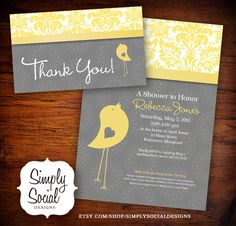 Little Bird Baby Shower Invitation and Thank You Note Package Yellow and Grey.