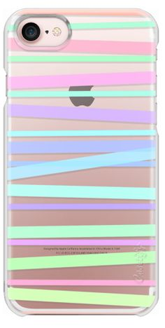 Casetify iPhone 7 Snap Case - Pastel Rainbow Stripes - Transparent/Clear Background by Lisa Argyropoulos