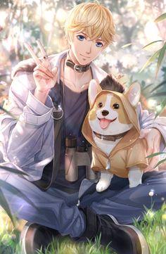 My dream boy with my corgi(dog) anime art girl, cute anime boy Hot Anime Boy, Cool Anime Guys, Handsome Anime Guys, Anime Boys, Couple Amour Anime, Anime Love Couple, Got Anime, Manga Anime, Kawaii Anime