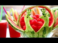Art In Watermelon Peacock | Fruit & Vegetable Carving Lessons - YouTube
