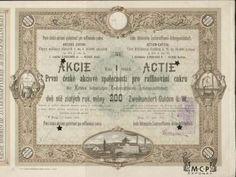 A1165  / Muzeum cennych papiru / První česká akciová společnost pro raffinování cukru, akcie na jméno / Namensaktie /   200 Zl. Praha 1872 / Erste Böhmische Zuckerraffinerie / AZP3CZ123