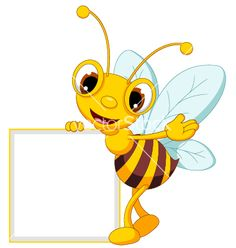 Funny bee cartoon waving and holding blank sign vector 2369470 - by ayoeb on VectorStock®