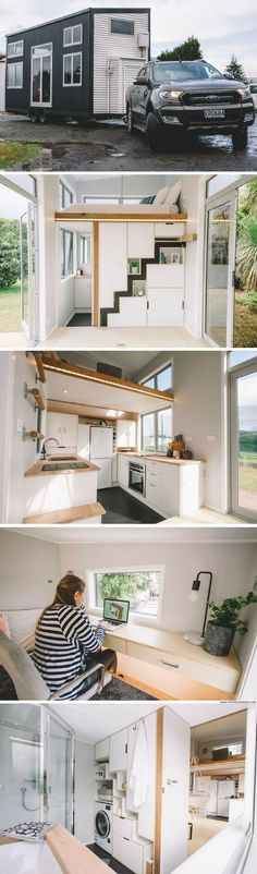 The Millennial Tiny House- has retractable stairs and a loft office