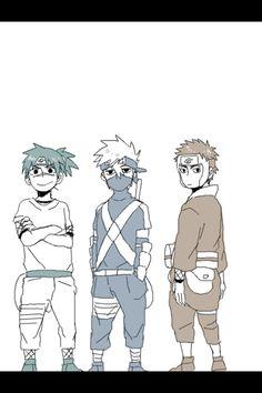 Iruka, Kakashi, and Tenzo babies Naruto Kakashi, Naruto Teams, Naruto Cute, Naruto Shippuden Anime, Anime Naruto, Manga Anime, Sasunaru, Boruto, Blue Exorcist
