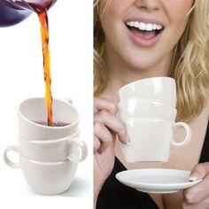 Stacked Cups :: 24 Modern Mugs and Creative Mug Designs. Funny Coffee Mugs, Funny Mugs, Modern Mugs, Creative Coffee, Cool Mugs, My Cup Of Tea, I Love Coffee, Coffee Break, Cup Design