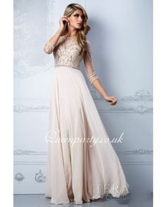 Chiffon Beaded Bodice Prom Dress With Illusion Long Sleeves £127
