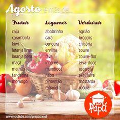 Quanto alimento gostoso e rico! O mês de agosto é mesmo uma festa!! #safradomês #sacoladafeira Food Hacks, Diabetes, Low Carb, Cooking, Fitness, Tips, Instagram Posts, Recipes, Foods