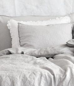 white & soft grey linens