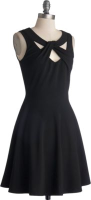 ModCloth LBD Mid-length Sleeveless A-line Figure Skate Fab Dress :- With a delicate swoosh, you launch into the air and spin, this beautiful, black A-line's flared skirt twirling out around you. Crisply, you land, and skate off the ice to where your coach and parents wait. You slide your cropped coat over this sweet dresss V-neckline - which is intriguingly adorned with a twist of fabric angled over a scoop band - and listen to your coach's rave review of your routine. | Polyvore