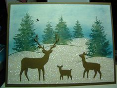Memory Box Deer Trio by crazysuziestamper - Cards and Paper Crafts at Splitcoaststampers