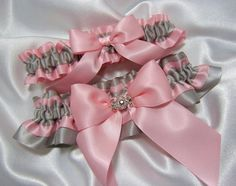 Pink and Platinum/Silver Wedding Garter Set w/ Large Hand Tied Bow and 3 Platinum Swarovski Crystals in a Charm -  Toss Garter Included via Etsy