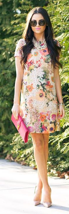 floral shift dress, pearls, nude pumps, bright clutch: perfect for a spring wedding