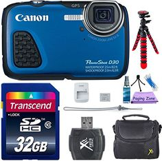 Canon PowerShot D30 Waterproof Digital Camera Blue w 6pc Accessory Bundle * You can find out more details at the link of the image.