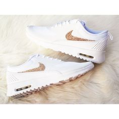Get the Gold Women's Nike Air Max Thea Running Shoes White on White... ($160) ❤ liked on Polyvore featuring shoes, athletic shoes, sneakers, black, white evening shoes, special occasion shoes, black white shoes, black shoes and white shoes
