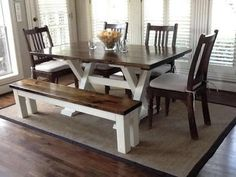 6' Trestle Table, no apron, in Dark Walnut stain with Ivory paint.(customize with black paint instead)