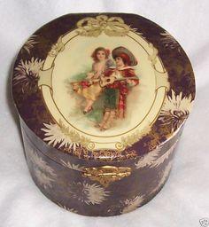 """Victorian Celluloid 7"""" Diameter Collar Box W/Children"""