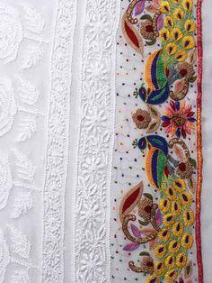 White Pure Georgette Saree with Chikankari & Zardozi Work Embroidery Techniques, Embroidery Stitches, Embroidery Patterns, Hand Embroidery, Machine Embroidery, Simple Embroidery, Blouse Patterns, Embroidery Suits Punjabi, Zardozi Embroidery