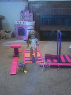 Gymnastics set I made for my daughter for her birthday out of duck tape and repurposed items from.around the house.