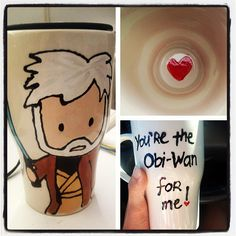 Obi-wan Travel Mug made, not with love but, with the Force / made this for my star wars crazy bf Sharpies, The Force Is Strong, Obi Wan, Geek Out, Valentine Gifts, Diy Gifts, Nerdy, Geek Stuff, Diy Stuff
