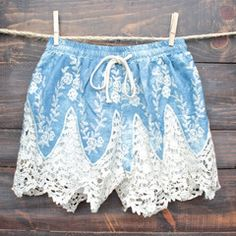 boho dreams high waisted shorts - denim crochet