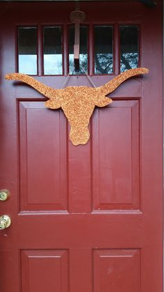 Texas Longhorn Door Hanger Door Sign Football by Glitterbacks Texas Longhorns Football, Ut Longhorns, Eyes Of Texas, Texas Crafts, Hook Em Horns, I Love My Son, Tooth Fairy Pillow, College Gifts, Cool Diy Projects