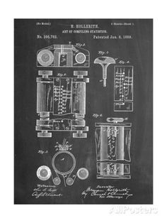 First Computer Patent 1889 Giclee Print at AllPosters.com