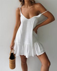 Ruffle Spaghetti Strap Off Shoulder Casual Mini Dress – Simple Craze Short Beach Dresses, Summer Beach Dresses, Short Casual Dresses, Elegant Dresses, Summer Beach Looks, Sun Dress Casual, Pretty Summer Dresses, Formal Dresses, Wedding Dresses