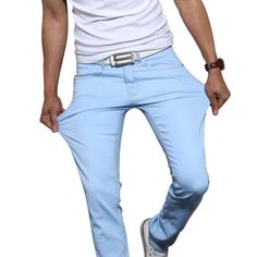 2016 New Fashion Men's Casual Stretch Skinny Jeans Trousers Tight Pants Solid Colors - shopaffortable