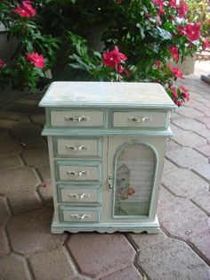 White And Pale Mint Green Hand-painted Large Vintage Solid Wood Jewelry Box