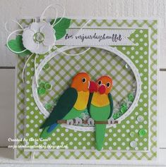 Nog een kaartje met vogeltjes... Marianne Design Cards, Bird Applique, Collectible Cards, Bird Cards, Animal Cards, Punch Art, Blank Cards, Cool Cards, Anniversary Cards