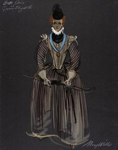 Costume Sketch of Bette Davis as Queen Elizabeth I in the Century Fox Production, 'The Virgin Queen' Ballet Costumes, Movie Costumes, Cool Costumes, Vintage Costumes, Amazing Costumes, Bette Davis, Joan Crawford, Rendering Techniques, Hollywood Costume